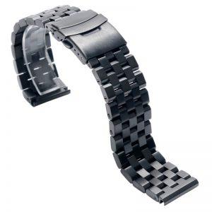 Bracelet Acier Inoxydable Noir 316L Massif WaWo 18mm 20mm 22mm 24mm