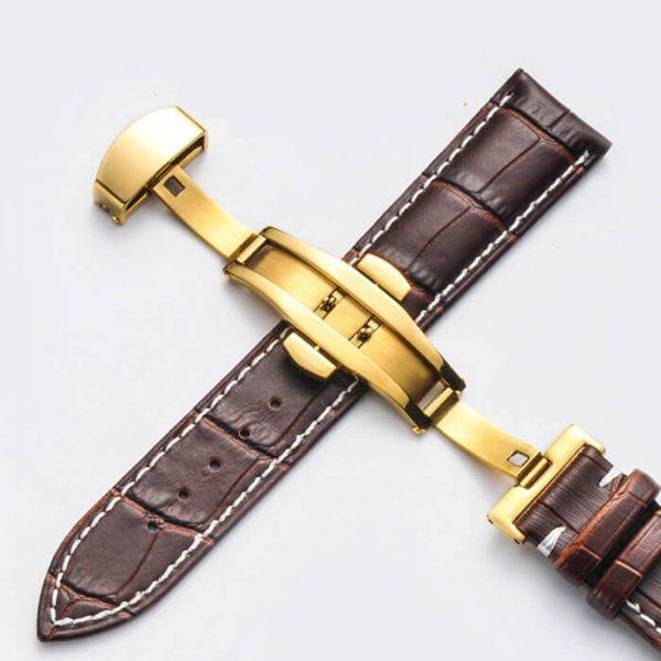 Bracelet Cuir Boucle Or Jaune Papillon déployante Marron & Blanc