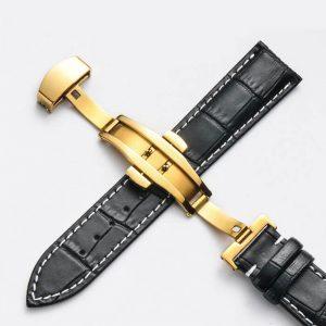 Bracelet Cuir Boucle Or Jaune Papillon déployante Noir & Blanc