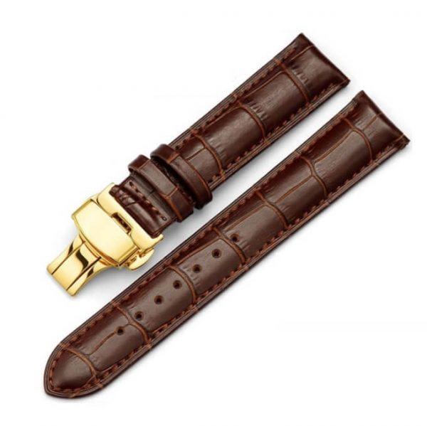 Bracelet Cuir Boucle Or Jaune déployante Marron