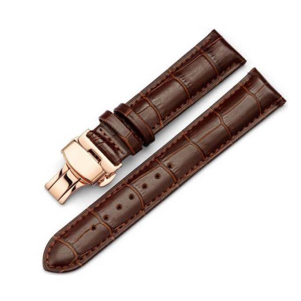 Bracelet Cuir Boucle Or Rose Papillon déployante Marron