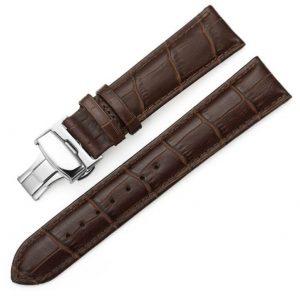 Bracelet Cuir Boucle Papillon déployante Marron