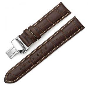 Bracelet Cuir Boucle déployante Papillon Marron & Blanc