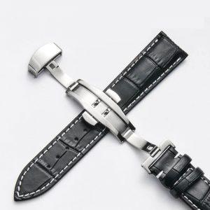 Bracelet Cuir Boucle déployante Papillon Noir & Blanc
