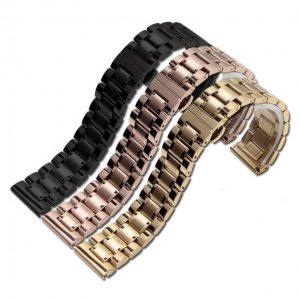 Bracelet Montre Plaqué Or, Or Rose ou Noir Acier
