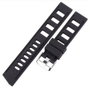 Bracelet Noir Silicone Souple Iso 20mm 22mm