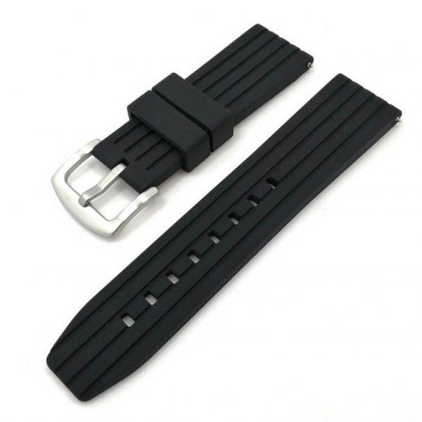 Bracelet Silicone Noir Souple 20mm 22mm 24mm