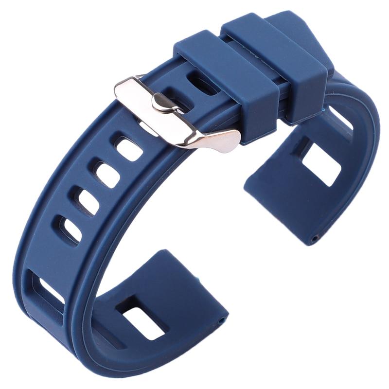 Bracelet Silicone Souple Iso 20mm 22mm Bleu