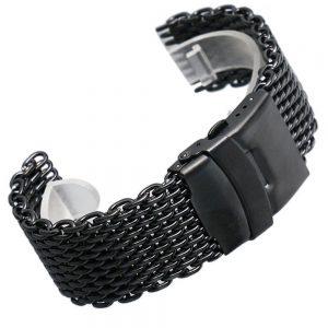 Bracelet en Inox IP Noir maille Milanaise et fermoir double securité