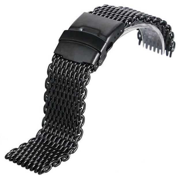 Bracelet en Inox IP Noir et maille Milanaise et fermoir double securité