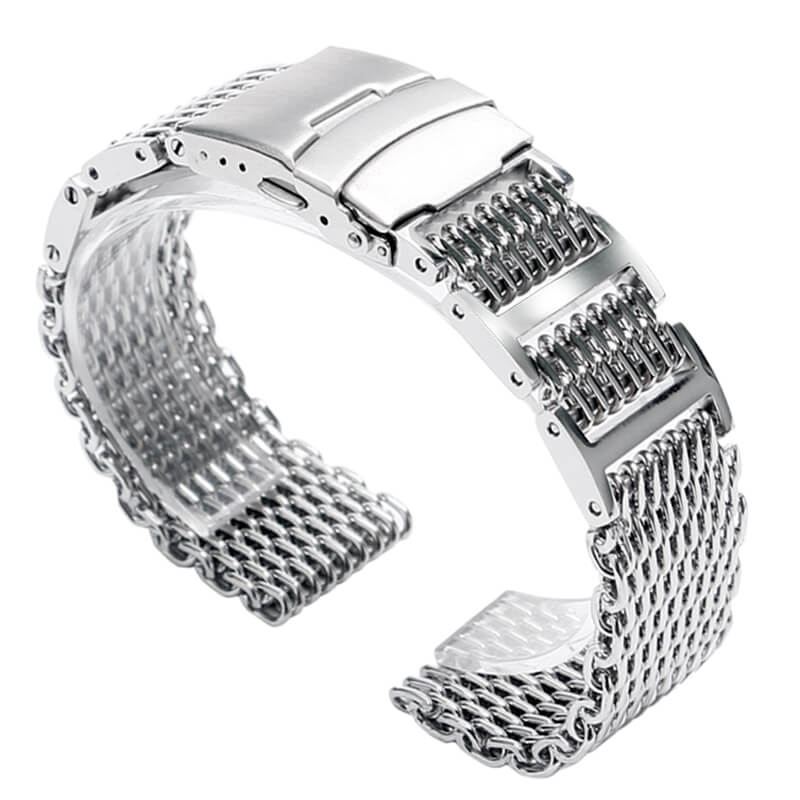 Bracelet milanaise avec Maillons Réglable en Acier Inoxydable 316L Massif