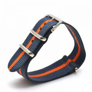 Nato Nylon Bleu Orange rayures 18mm 20mm 22mm 24mm