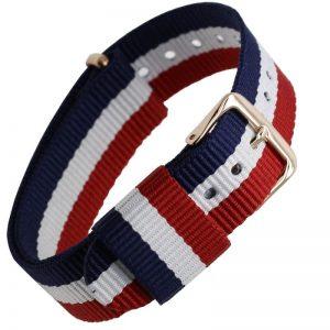 Bracelet Nato pour Daniel Wellington Boucle Dorée Bleu Blanc Rouge