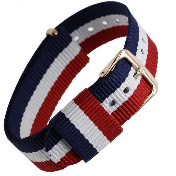 Bracelet Nato pour Daniel Wellington Boucle Dorée Bleu Blanc Rouge 18mm 20mm
