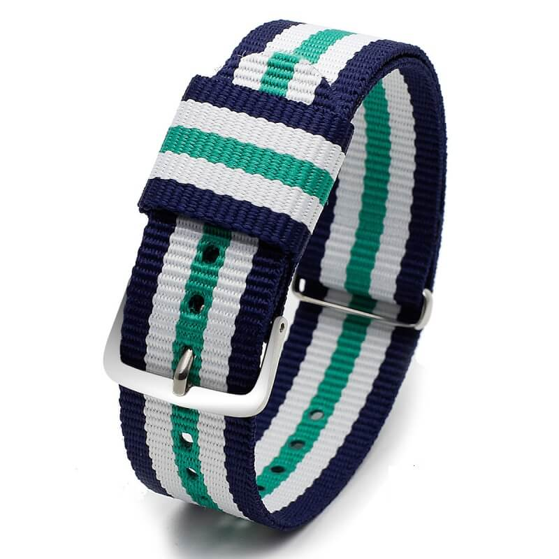 Bracelet Nylon pour Daniel Wellington Bleu Blanc Vert 18mm 20mm
