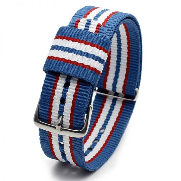 Bracelet Nylon pour Daniel Wellington Bleu Rouge Blanc 18mm 20mm