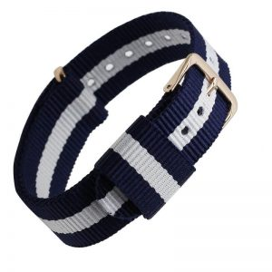Bracelet Nylon pour Daniel Wellington Boucle Dorée Bleu Blanc Bleu