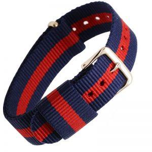 Bracelet Nylon pour Daniel Wellington Boucle Dorée Bleu Rouge Bleu