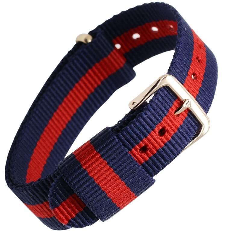 Bracelet Nylon pour Daniel Wellington Boucle Dorée Bleu Rouge Bleu 18mm 20mm