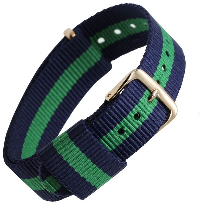 Bracelet Nylon pour Daniel Wellington Boucle Dorée Bleu Vert Bleu 18mm 20mm