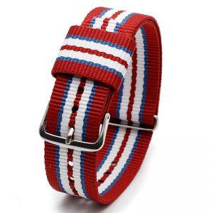 Bracelet Nylon pour Daniel Wellington Rouge Bleu Blanc Rouge 18mm 20mm