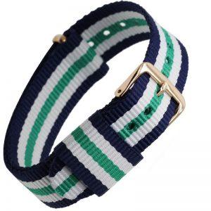 Bracelet Nylon remplacement Daniel Wellington Boucle Dorée Bleu blanc Vert