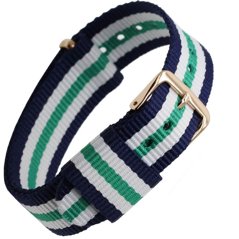 Bracelet Nylon remplacement Daniel Wellington Boucle Dorée Bleu blanc Vert 18mm 20mm