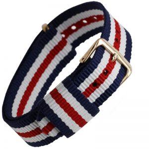 Bracelet Nylon remplacement Daniel Wellington Boucle Dorée Tricolor Bleu Blanc Rouge