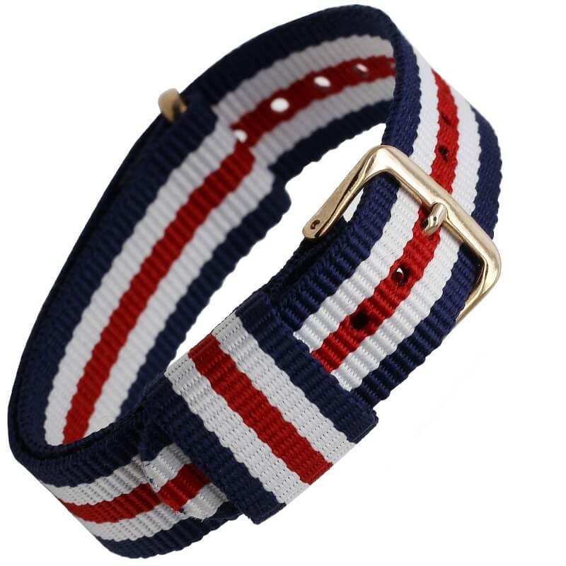 Bracelet Nylon remplacement Daniel Wellington Boucle Dorée Tricolor Bleu Blanc Rouge 18mm 20mm