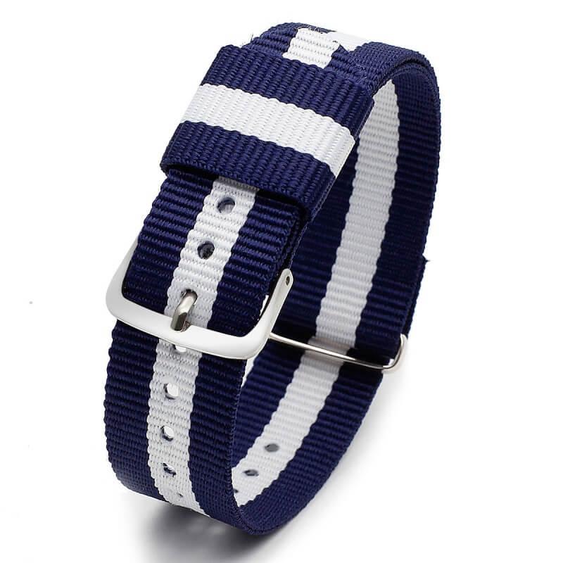 Bracelet pour Daniel Wellington nylon Bleu Blanc Bleu