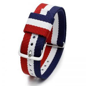 Bracelet pour Daniel Wellington nylon Bleu Blanc Rouge 18mm 20mm