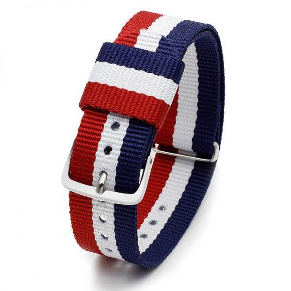 Bracelet pour Daniel Wellington nylon Bleu Blanc Rouge18mm 20mm