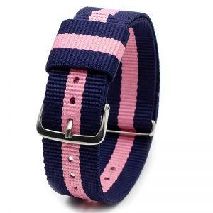 Bracelet Nylon pour Daniel Wellington Bleu Rose Bleu 18mm 20mm