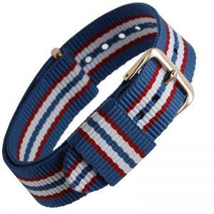 Bracelet remplacement Daniel Wellington Nylon Boucle Dorée Tricolor Bleu Rouge Blanc