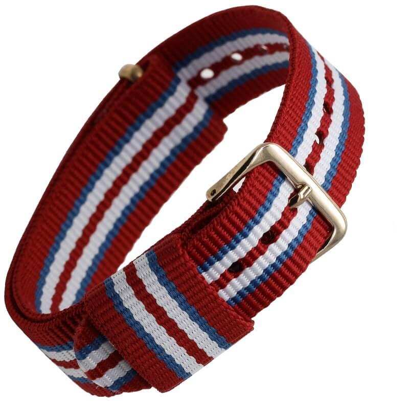 Bracelet remplacement Daniel Wellington Nylon Boucle Dorée Tricolor Rouge Bleu Blanc