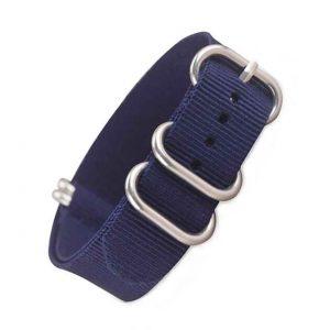 Nato Zulu 5 anneaux Bleu Nylon 18mm 20mm 22mm 24mm