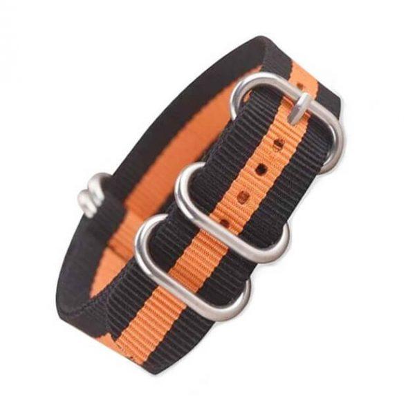 Nato Zulu 5 anneaux Orange Noir Nylon 18mm 20mm 22mm 24mm