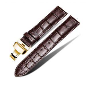Bracelet Cuir Pour Daniel Wellington Marron Boucle Or Papillon déployante