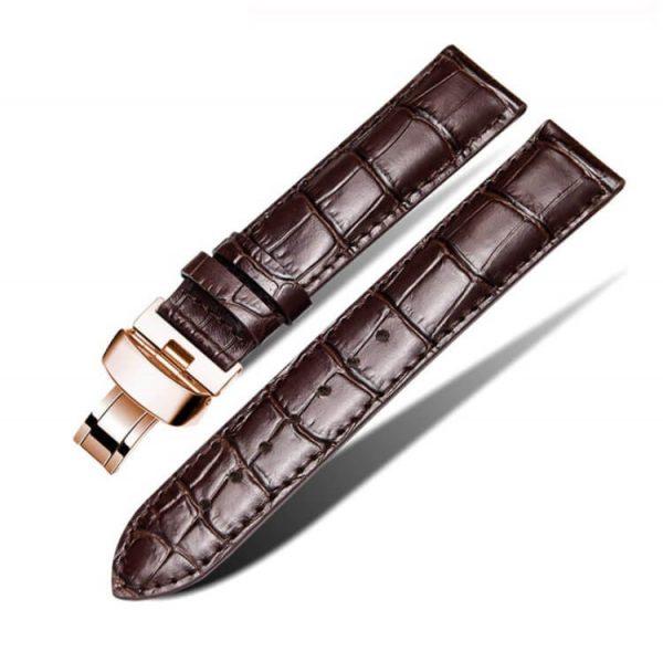 Bracelet Cuir Pour Daniel Wellington Marron Boucle Or Rose Papillon déployante