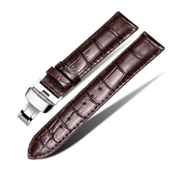 Bracelet Cuir Pour Daniel Wellington Marron Boucle Papillon déployante