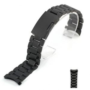 Bracelet Montre Acier Inox Arrondie Noir Eco