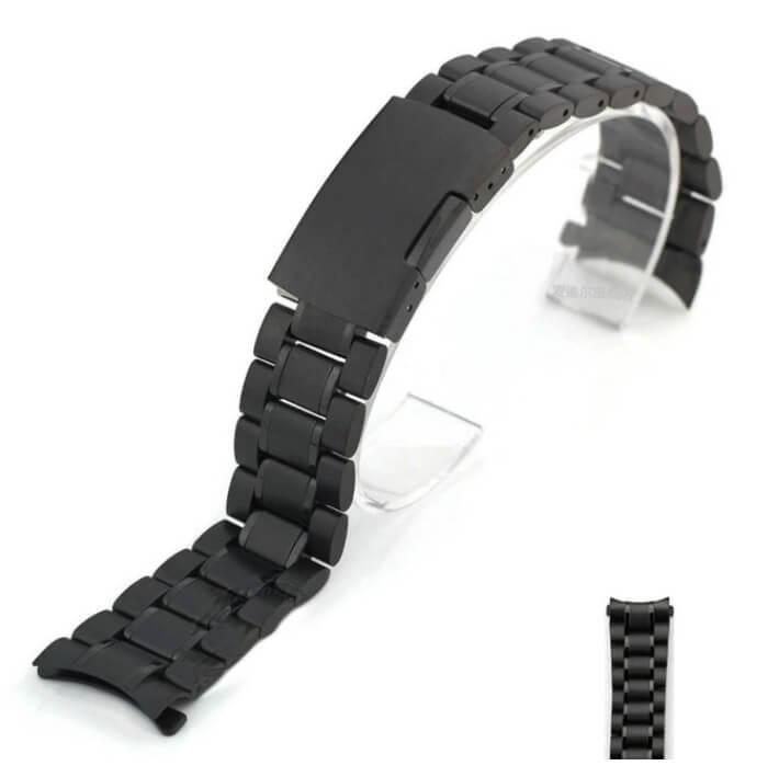 Bracelet Montre Acier Inox Arrondie Noir Eco18mm 20mm 22mm 24mm