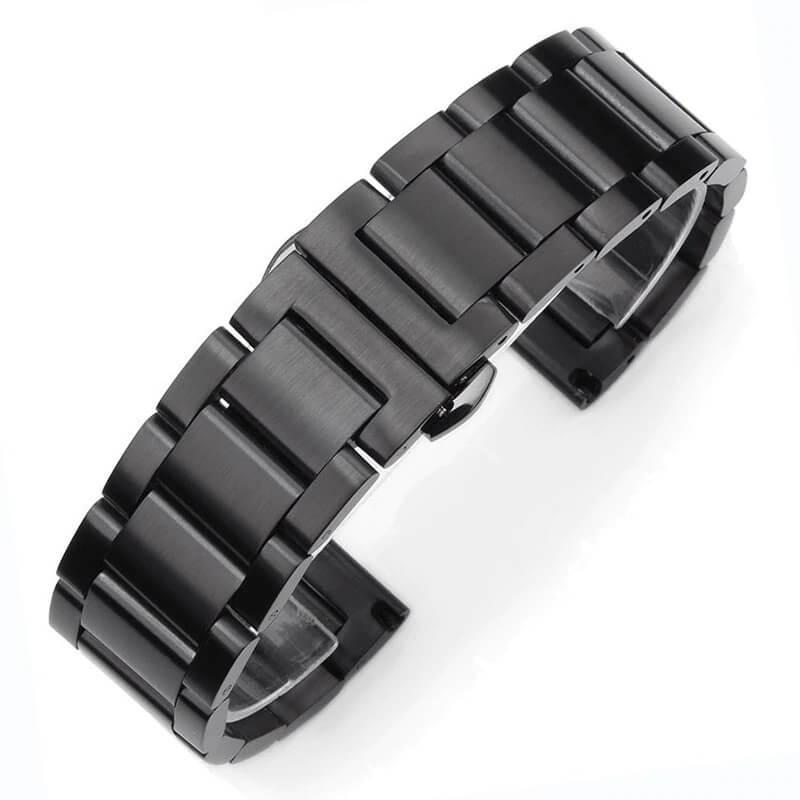 Bracelet Montre Acier Inox Noir Brosé 18mm 20mm 22mm 24mm