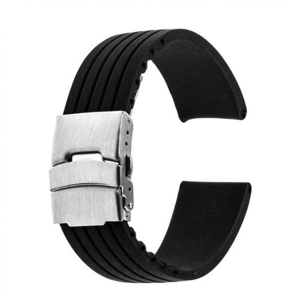Bracelet montre Silicone Boucle déployante Noir