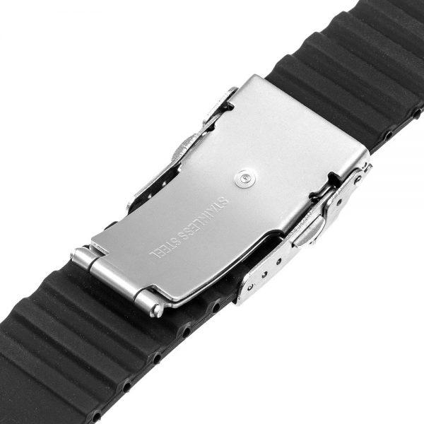 Bracelet montre Silicone Boucle déployante Noir boucle ouverture arrière