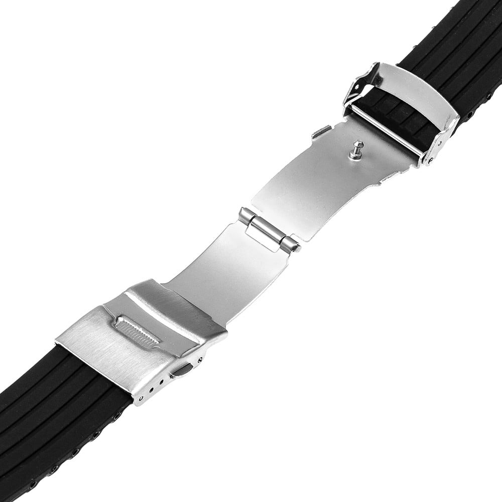 Bracelet montre Silicone Boucle déployante Noir boucle ouverture fermoir avant