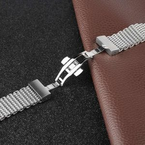Bracelet montre à maille Milanaise avec boucle Papillon en Acier Inox