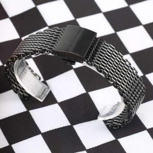 Bracelet montre Milanaise avec boucle Papillon en Acier Inox IP NOIR